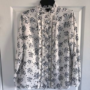 Ann Taylor Floral Button Down White Size Medium